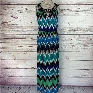 AB STUDIO | Zig-Zag Southwest Print Maxi Dress